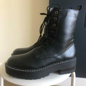 (NWT)Stradivarius Vegan Leather Combat Boots